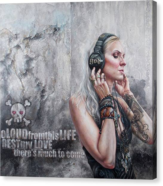 Headphones Canvas Print - Listen 26 by Brent Schreiber