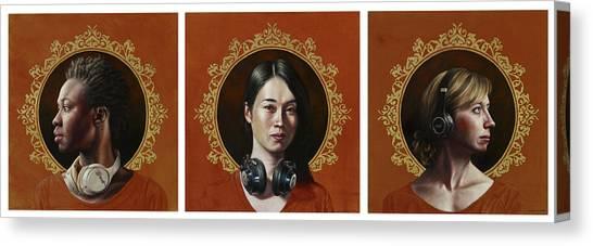 Headphones Canvas Print - Listen 33-35 Triptych by Brent Schreiber