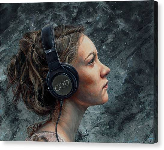 Headphones Canvas Print - Listen 4 by Brent Schreiber