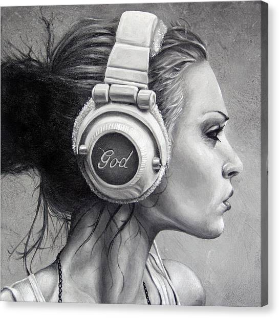 Headphones Canvas Print - Listen by Brent Schreiber