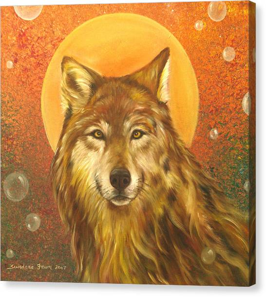 Wolf Moon Canvas Print - Listening by Sundara Fawn