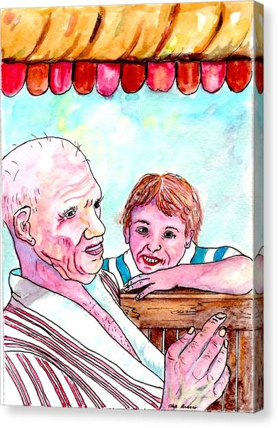 Listening To Grandpas Endless Funny Stories Canvas Print