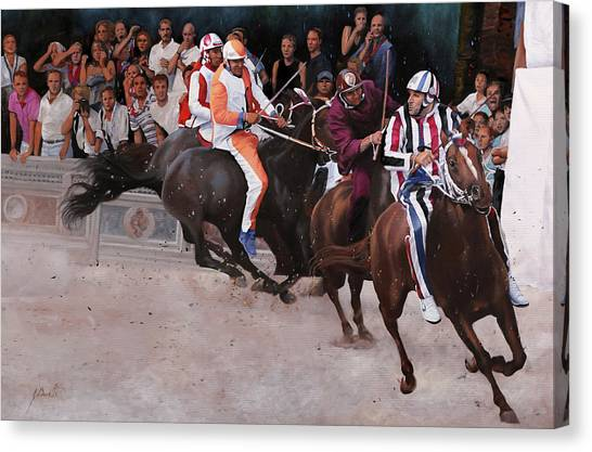 Race Horses Canvas Print - L'istrice by Guido Borelli