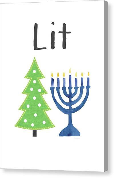 Christmas Art Canvas Print - Lit Christmas And Hanukkah- Art By Linda Woods by Linda Woods