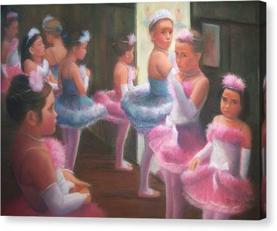 Little Ballerinas Backstage At The Recital Canvas Print by Diane Caudle