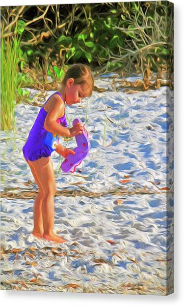 Little Beach Girl With Flip Flops Canvas Print