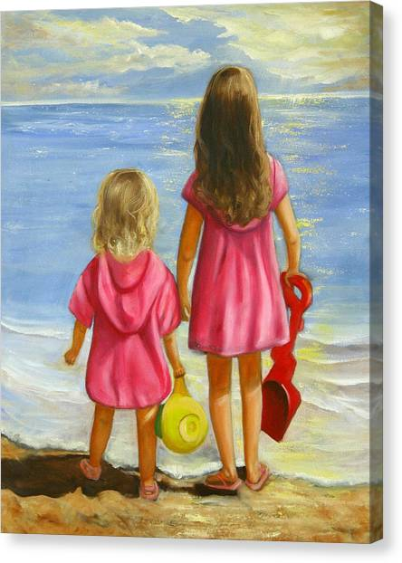 Girl Canvas Print - Little Beachcombers by Joni McPherson
