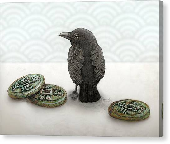 Canvas Print - Little Bird And Coins by Kato D