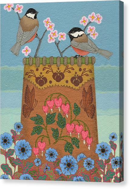Canvas Print featuring the painting Little Bird by Chholing Taha