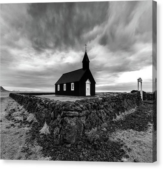 Glaciers Canvas Print - Little Black Church 2 by Larry Marshall