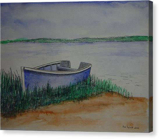 Little Blue Skiff Canvas Print by Ron Sylvia