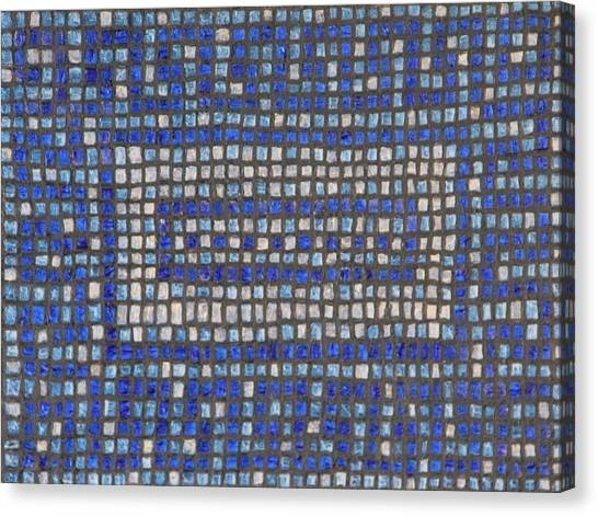 Little Blue Tiles Canvas Print by Tracy Fetter