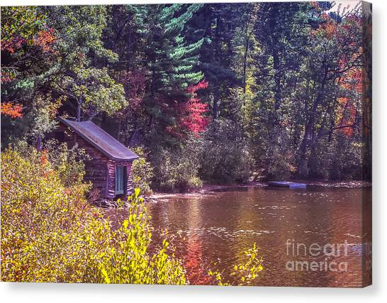 Little Boat House By The Lake Canvas Print