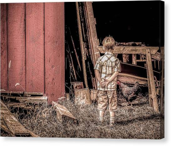Little Boy And Rooster Canvas Print