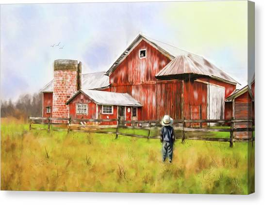 Little Boy On The Farm Canvas Print