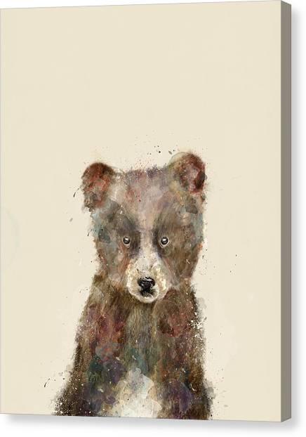 Brown Bears Canvas Print - Little Brown Bear by Bleu Bri