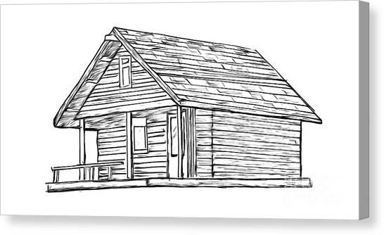 Log Cabin Canvas Print - Little Cabin In The Woods by Edward Fielding