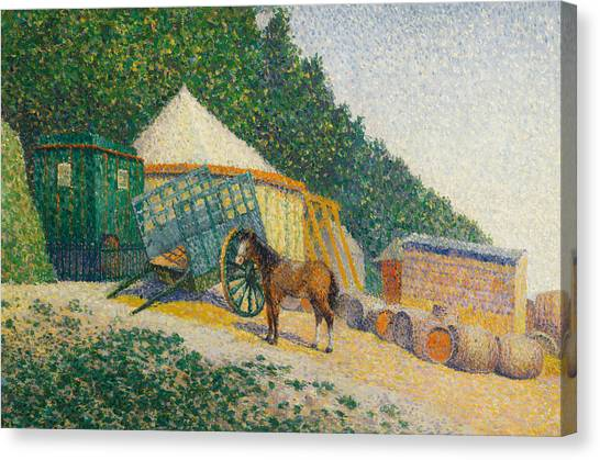 Divisionism Canvas Print - Little Circus Camp by Albert Dubois-Pillet