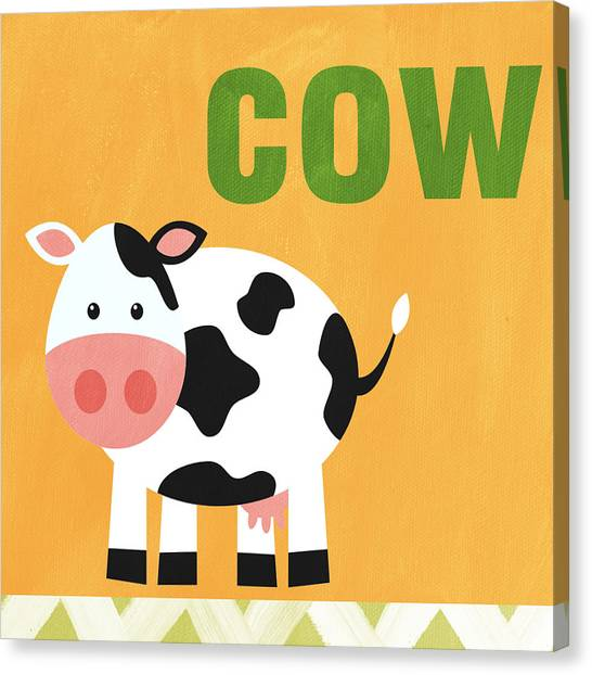 Farm Animals Canvas Print - Little Cow by Linda Woods