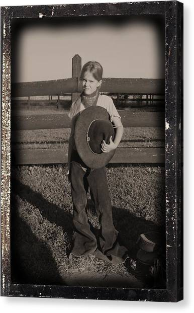 Ranch Dressing Canvas Print - Little Cowgirl, Big Hat by Traci Goebel