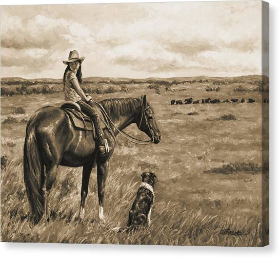Herding Dog Canvas Print - Little Cowgirl On Cattle Horse In Sepia by Crista Forest