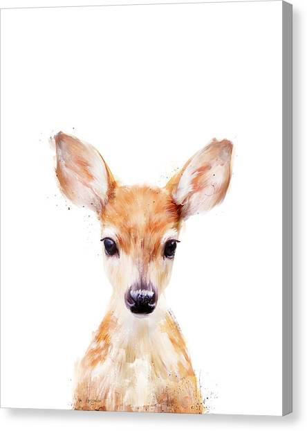 Christmas Art Canvas Print - Little Deer by Amy Hamilton