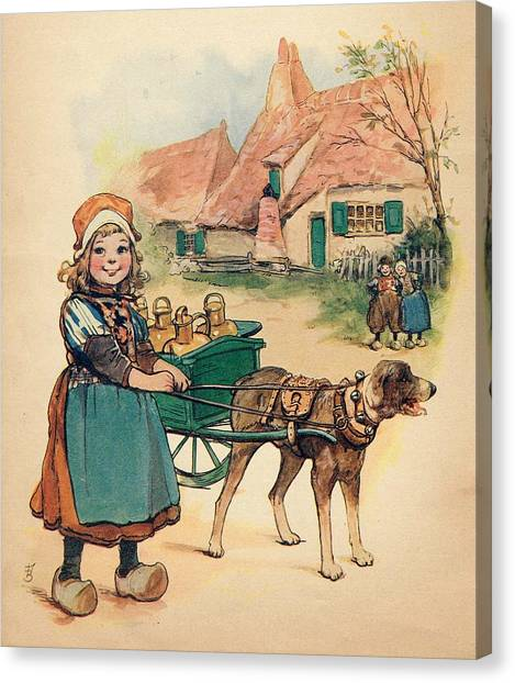 Little Dutch Girl With Milk Wagon Canvas Print