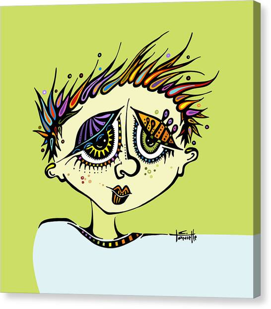 Pen And Ink Drawing Canvas Print - Little Einstein by Tanielle Childers