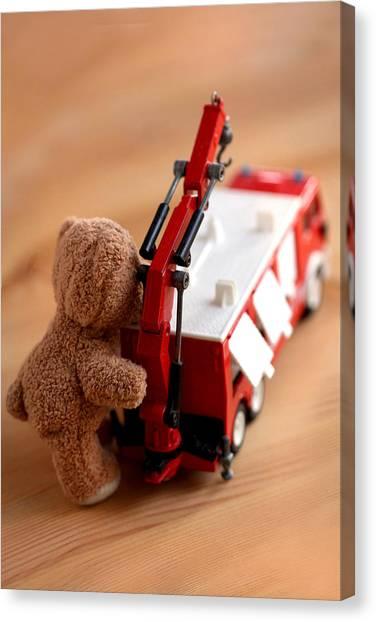Volunteer Firefighter Canvas Print - Little Firefighter Bear by Elke Rampfl-Platte