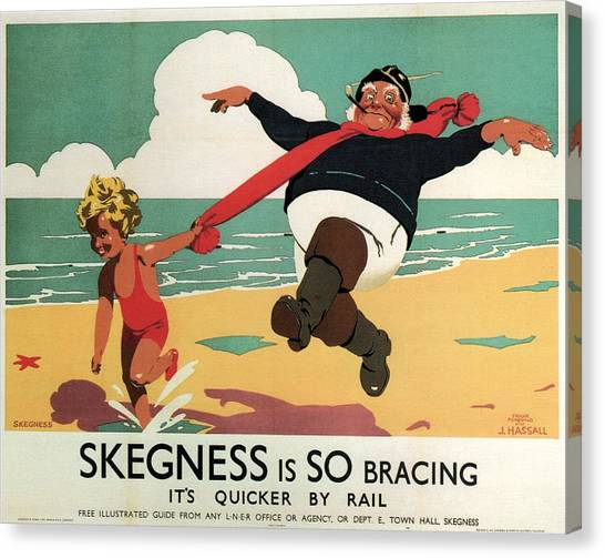 Little Girl And Old Man Playing On The Beach In Skegness, Lincolnshire - Vintage Advertising Poster Canvas Print