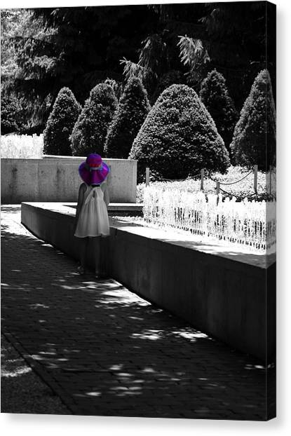 Little Girl In Magenta Hat Black And White Selective Color Canvas Print
