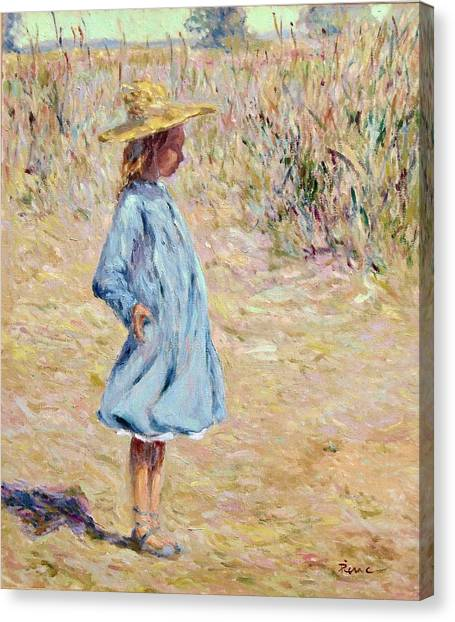Little Girl With Blue Dress Canvas Print