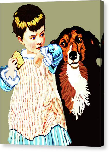 Canvas Print featuring the painting Little Girl With Hungry Mutt by Marian Cates