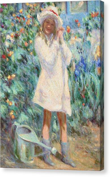 Little Girl With Roses / Detail Canvas Print