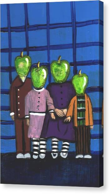 Little Green Apple Head Kids Canvas Print