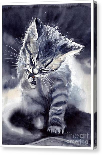 Flash Canvas Print - Little Grey Cat by Suzann Sines