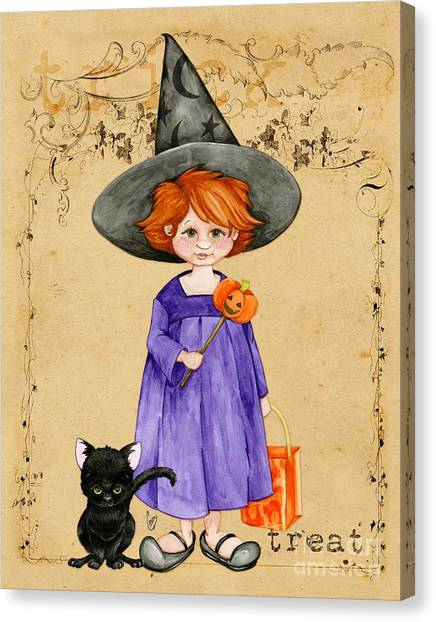 Little Halloween Witch Canvas Print