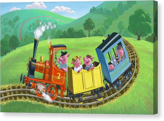 Little Happy Pigs On Train Journey Canvas Print