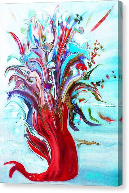 Abstract Little Mermaid Vase  By Sherriofpalmsprings Canvas Print