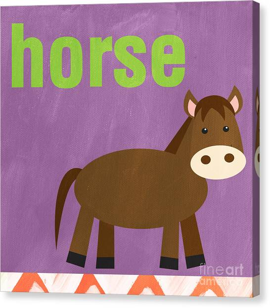 Purple Canvas Print - Little Horse by Linda Woods