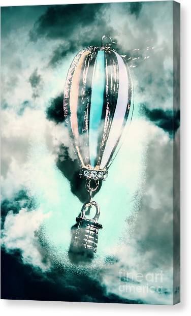 Flying Canvas Print - Little Hot Air Balloon Pendant And Clouds by Jorgo Photography - Wall Art Gallery