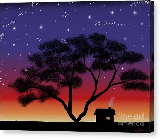 Little House At Sunset Canvas Print