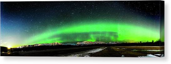 Little House Under The Aurora Canvas Print