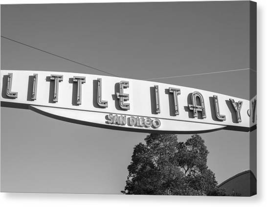 Little Italy Monochrome Canvas Print