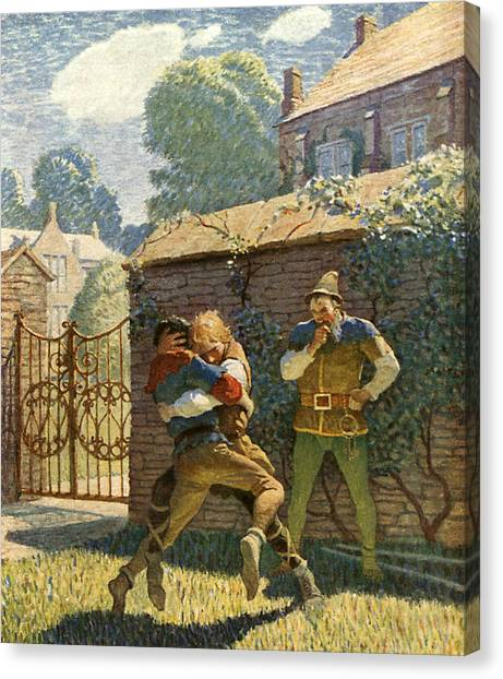Wrestling Canvas Print - Little John Wrestles At Gamewell by Newell Convers Wyeth