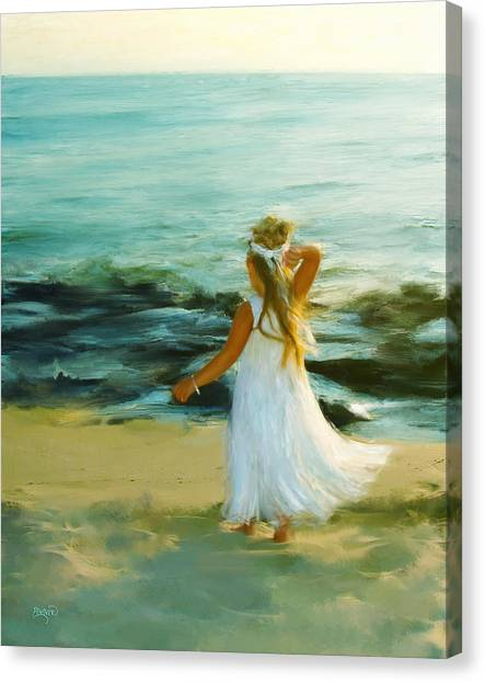 Little Lady At The Beach Canvas Print