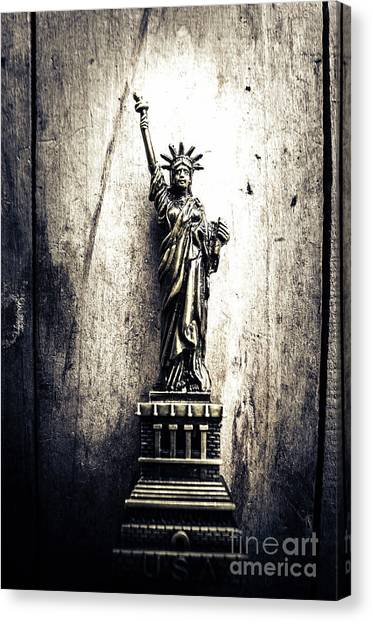 Statue Of Liberty Canvas Print - Little Lady Of Vintage Usa by Jorgo Photography - Wall Art Gallery
