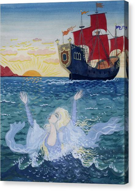 Sunset Horizon Canvas Print - Little Mermaid by Lorenz Frolich
