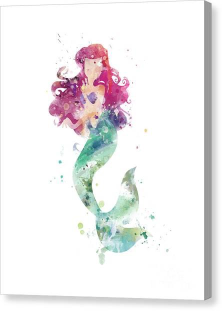 Mermaids Canvas Print - Little Mermaid by Monn Print