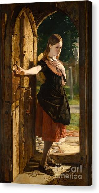 Old Door Canvas Print - Little Nell Leaving The Church by James Lobley